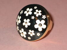 Marc Jacobs Gold Plate & Black And White Enamel DAISY Perfume Ring ~ Size 7