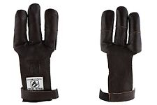 Buck Trail Archery Traditional Leather Draw Hand Glove Dark Brown Flat Long Bow