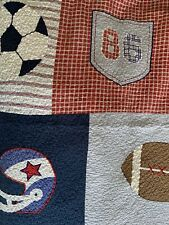 Charles Street Pottery Barn Kids Twin Boys Sports Athletic Quilt Shams Excellent