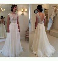 New White/Ivory cap sleeve lace Wedding Dress Bridal Gown  Size 6- 18 UK