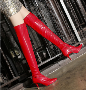 Women's Patent Leather Stiletto High Heels Slim Over Knee Boot Pointed Toe Shoes