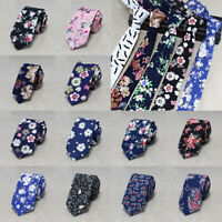 Classical Wedding Men Floral Print Tie Skinny Slim Cotton Necktie Flowers 6cm