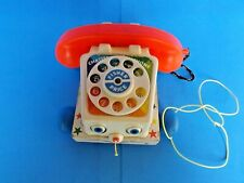 Vintage 1961 Fisher Price Chatter Telephone #747 ROTARY PHONE w/ pull string