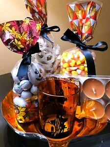 Halloween Gift Package w/ 3 types of treats, a Halloween candle holder, candle