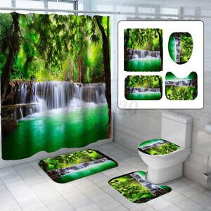 4Pcs/Set Green Bath Waterproof Shower Curtain Waterfall Toilet Cover Rug Mat