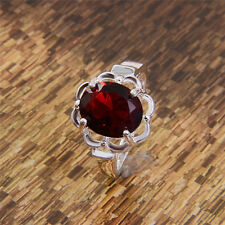 Fashion Silver Plated Ruby & Topaz Cut Gemstone Rings SZ 6/7/8/9