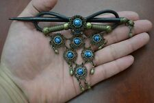 HANDMADE BLUE FAUX LEATHER HAIR BARRETTE WOOD STICK PIN