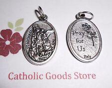 "Saint St. Michael the Archangel - Die- Cast - Italian Silver-tone OX 1"" Medal"