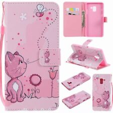 cute pink cat and bee wallet Flip Leather case Skin cover with strap for phone