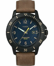 Timex TW4B14600,  Gallatin, Expedition Brown Leather Watch, Solar Battery, Date