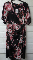 Womens Ladies New Black & Pink Floral Loop Belt Stretchy Tunic Dress UK 10-16