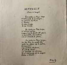 "Roberto Branly manuscript, Poem ""Homenaje"".Original signed"