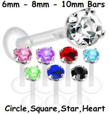 Crystal Monroe Bioflex PTFE Flexi Acrylic Tragus small Lip Bar Star Heart Square