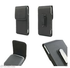 Leather flip belt clip metal case holster vertical for => Lava Magnum X604