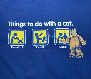 Vintage 1987 Alf Things To Do With A Cat Lick It Shirt Sz XL 80s TV Series RARE