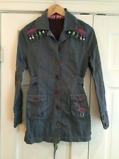 Muy Malo Juniors Fringed Beaded Gray Jacket Sz 164 / 10 EUC