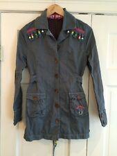 Muy Malo Juniors Fringed Beaded Gray Jacket Sz 164 / 10 EUC