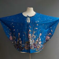 Vtg 70s Penny Lou Disco Poly Sapphire Blue Floral Cape Blouse Top Os Fits Most