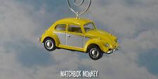 Classic Yellow two Tone Volkswagen Beetle Christmas Ornament VW Bug Herbie 1/64