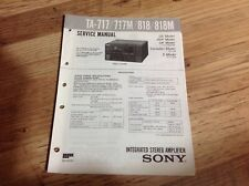 Service Manual Sony TA-717/717M/818/818M Integrated Stereo Amplifier