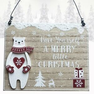 Christmas Wall Plaque Polar Bear Have A Merry Little Christmas Time Wood Sign