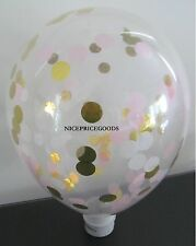 1 CLEAR 12INCH/30CM LT PINK/WHITE/GOLD CONFETTI BALLOON. BABY EVENTS WEDDINGS