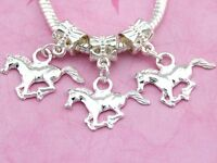 30pcs Silver Tone Plated Horse Dangle Charms For Bracelet SY51
