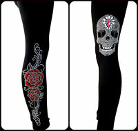 REGULAR OR PLUS SIZE LEGGINGS Embellished Rhinestone Skull Pirate & Red Roses