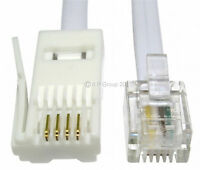 2 Metre 2m BT Plug - RJ11 4 Pin STRAIGHT Phone Telephone Modem Fax Cable WHITE
