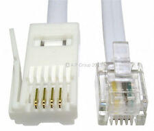 15 Metre 15m BT Plug - RJ11 4 Pin STRAIGHT Phone Telephone Modem Fax Cable WHITE