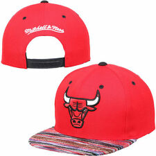 CHICAGO BULLS NBA MITCHELL&NESS RED SPACE KNIT VISOR ADJUSTABLE SNAPBACK HAT CAP
