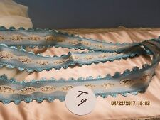 VINTAGE SCALLOP FRINGE VICTORIAN BLUE  INSERTS OF JACQUARD  DOLL SHADES 1YD