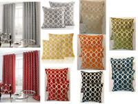 Modern Oh Retro Geometric Circles Ring Top Eyelet Lined Curtains Cushion Cover