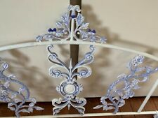 More details for vintage painted french style cast iron head board designer white & blue roses