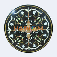 "12"" Black Marble Side Coffee Table Top Precious Marquetry Inlay Patio Decor B535"