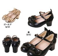 Mary Jane Lolita New Womens Bowknot Buckle Mid Heel Chunky Pumps Shoes All UK Sz