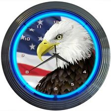 "Eagle With American Flag Neon Clock 15""x15"""