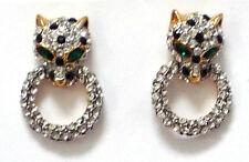 Butler Y Wilson Cristal Claro Pequeño Leopardo Cabeza Anillo Oro Tono Pendientes Nueva