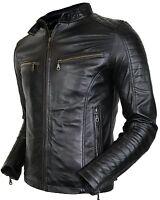 Herren Bikerjacke aus echtem Leder gesteppte Schultern Vintage style Steppjacke