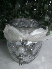 Clayre & Eef Lantern Tealight Rustic Silver with Loop Heart Shabby Brocade