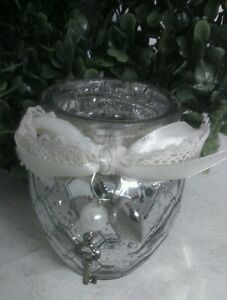 Clayre & Eef Lantern Tealight Rustic Silver With Bow Heart Shabby Brocade