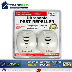Sonic Pest Repeller Ultrasonic Twin Pack Mice Rat Ant Spider Vermin Control 240v