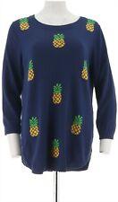 C Wonder Pineapple Instarsia Womens 3/4 Sleeves Sweater Pineapple M NEW A289703