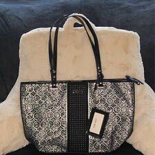 Nine West Womens Satchel Handbag Black White Geometric Zipper New Dual Handle L