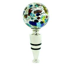 Murano Glass Bottle Stopper Silver Red Green Authentic Wine Prosecco Venice