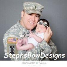 Us Army Digital Acu Camo Dainty Hair Bow Headband Fits Preemie Newborn Toddler