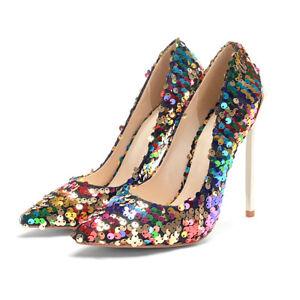 Women's 12cm Very High Heel Stiletto Shoes Sequin Pointed Toe Pumps AU Size 3~11