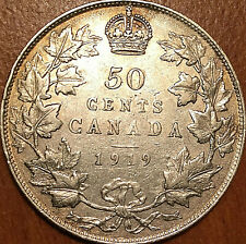 1919 CANADA SILVER 50 CENTS COIN HALF DOLLAR - Excellent example!