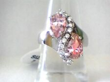 Double Pink Topaz Dazzler with Accent Crystals in .925 Silver Setting Size 7