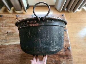 Old Vintage Large COPPER Cooking Pot Boiler Handles Farm Rustic Planter 41cm D
